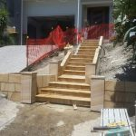 img-Sandstone Stairs And Landings With Block Wall